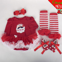Newborn Baby Clothes Christmas Infant Jumpsuit Clothes 4pcs Set Baby Girls Clothing Xmas Baby Suits Toddler