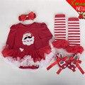 A Roupa Do Bebê recém-nascido Macacão Infantil Roupas 4 pcs Set Meninas Do Bebê Roupas de Natal Do Xmas Do Bebê Ternos Criança Romper Vestido Tutu