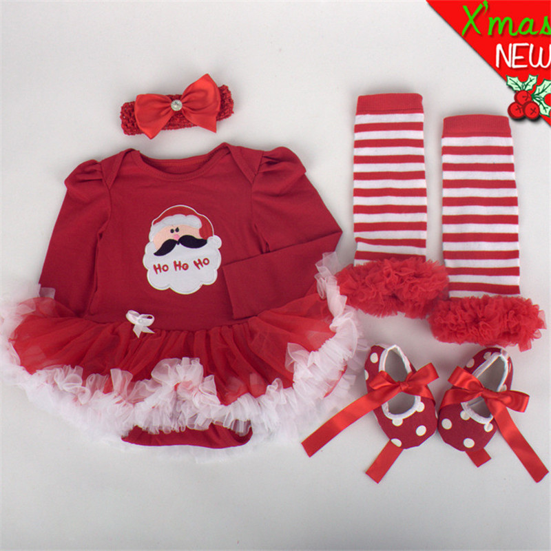 Newborn Baby Clothes Christmas Infant Jumpsuit Clothes 4pcs Set Baby Girls Clothing Xmas Baby Suits Toddler Romper Tutu Dress 4pcs set baby girls clothing newborn baby clothes christmas infant jumpsuit clothes xmas bebe suits toddler romper tutu dresses