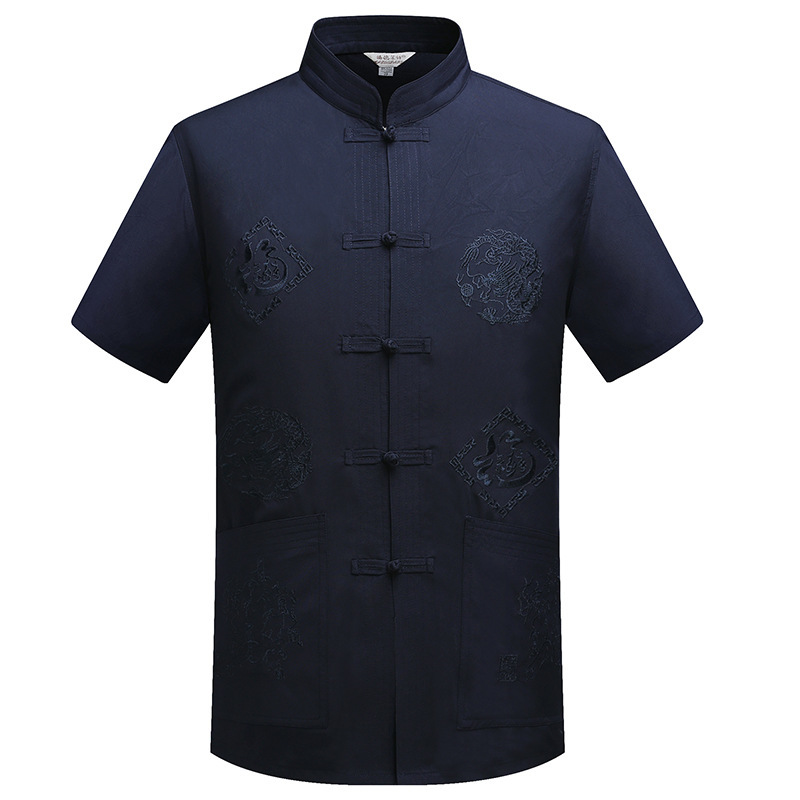 Traditional Chinese Clothing Top For Men Male Tangzhuang Clothes Tang Ethnic Shirts Men Costume Men Silk Shirts Short Sleeve