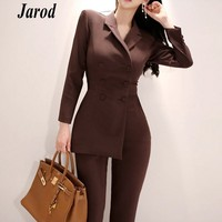 New fashion office OL Double Breasted Women Jumpsuits Autumn Long Sleeve Irregular Work Wear Notched Collar Jumpsuit Overalls