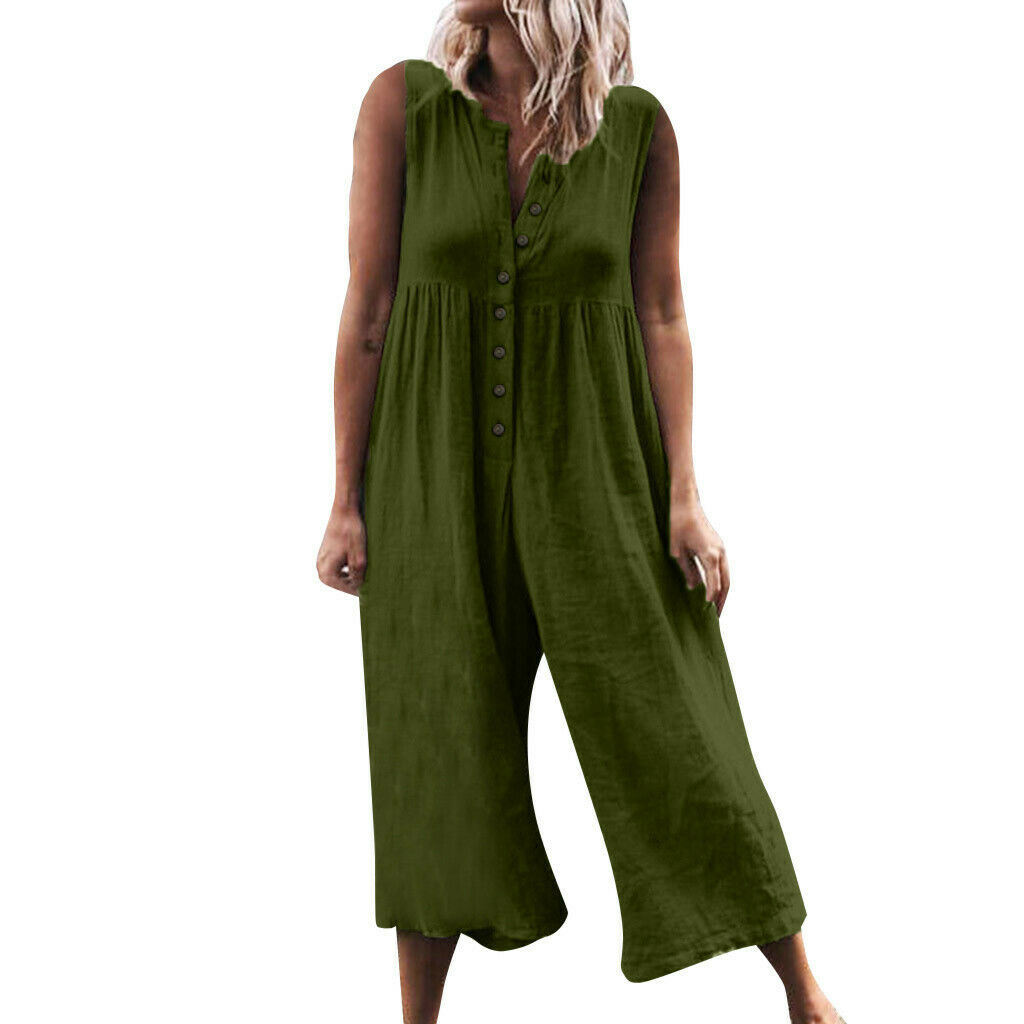 Women 39 s Casual Loose Linen Cotton Jumpsuit Dungarees Solid Button Playsuit Wide Leg Romper Overalls 2019 in Jumpsuits from Women 39 s Clothing