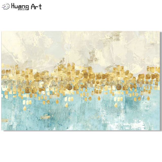 Artist Hand Painted High Quality Abstract Oil Painting On Canvas Light Colors Modern Golden For Wall Decor