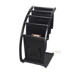 H67cm grote houten lederen vloer tijdschrift krant boek tentoonstelling display rack organizer houder kantoor accessoires zwart 229A
