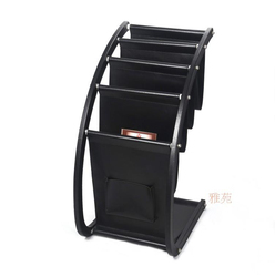 H67cm large wood leather floor magazine newspaper book exhibition display rack organizer holder office accessories black 229A