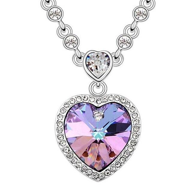 Сердце Ожерелья Подвески Кристалл с Элементами swarovski Белый Позолоченный Старинные Ювелирные Изделия Ожерелья Для Женщин 10800