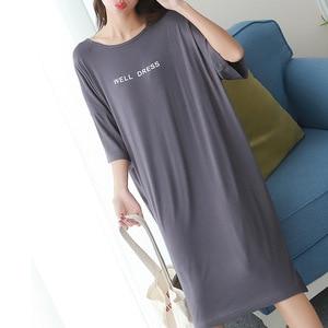 Image 3 - 2019 summer plus size home casual dress women letter print sleepdress cotton short sleeve strapless nightdress sleepshirts lady