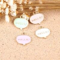 Newest Mini Order 20PCS HELLO Letter Alphabet Jewelry Charms Gold Tone Enamel DIY Jewelry Bracelet Necklace