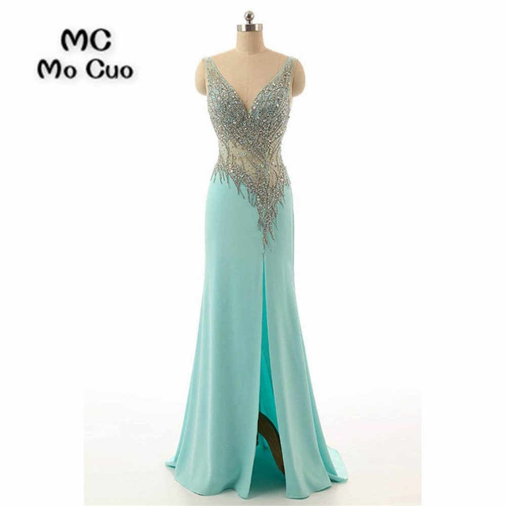 2018 Mermaid Prom dresses Long with Crystals Beaded Slit Vestidos de fiesta dress for graduation Blue Formal Evening Prom Dress
