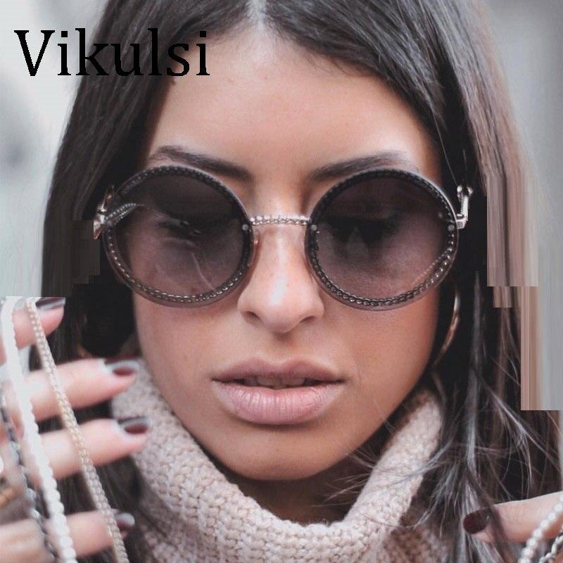 Luxury Oversized Round Sunglasses Women UV400 Retro Brand Designer Chain Metal Frame Sun Glasses For Female Oculos Eyewear Men