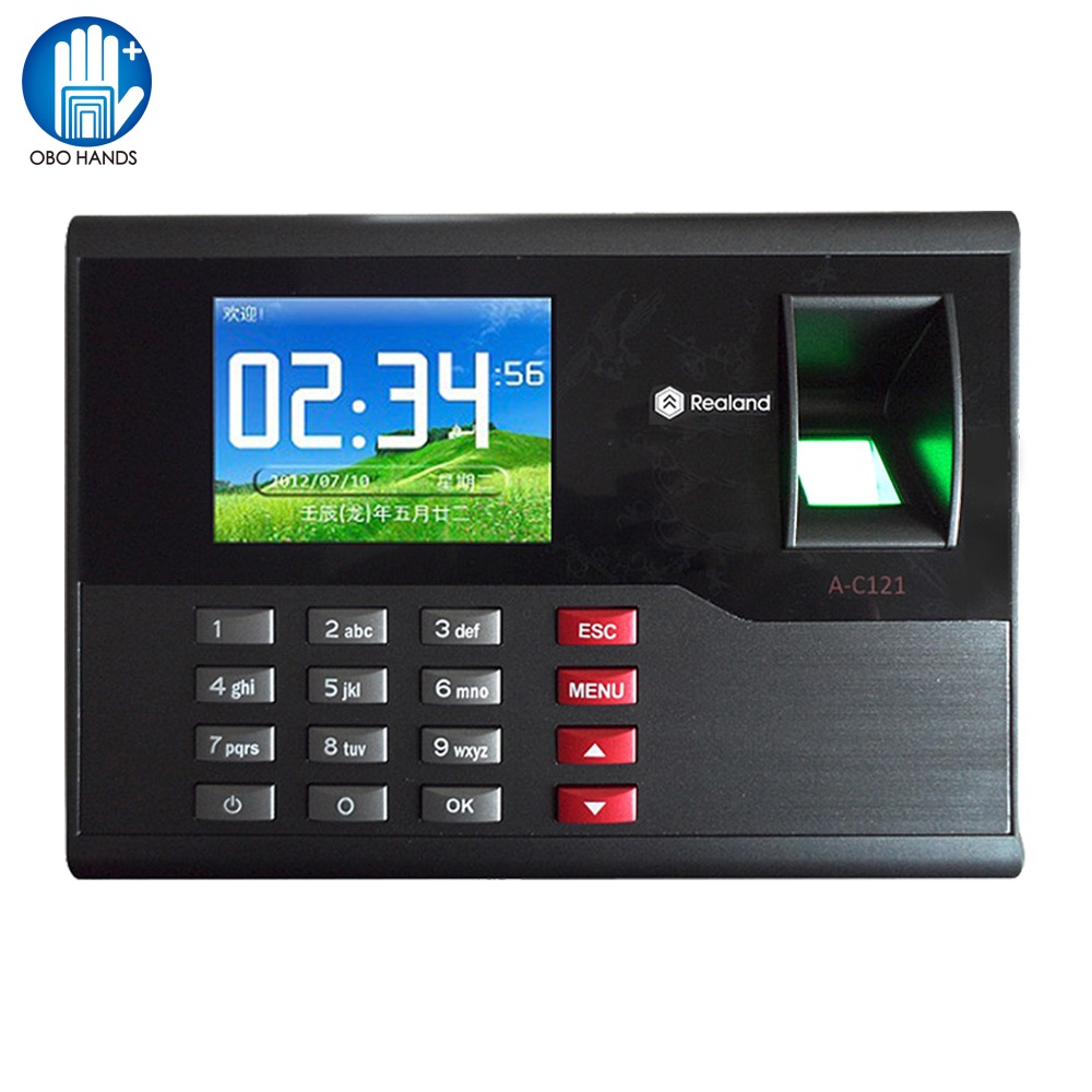 Realand TCP/IP Biometric Fingerprint Time Attendance System Time Clock Machine 2.8inch Screen for Access Control System A-C121 tcp ip biometric fingerprint time attendance and access control system 1000 users cheap price door access controller reader
