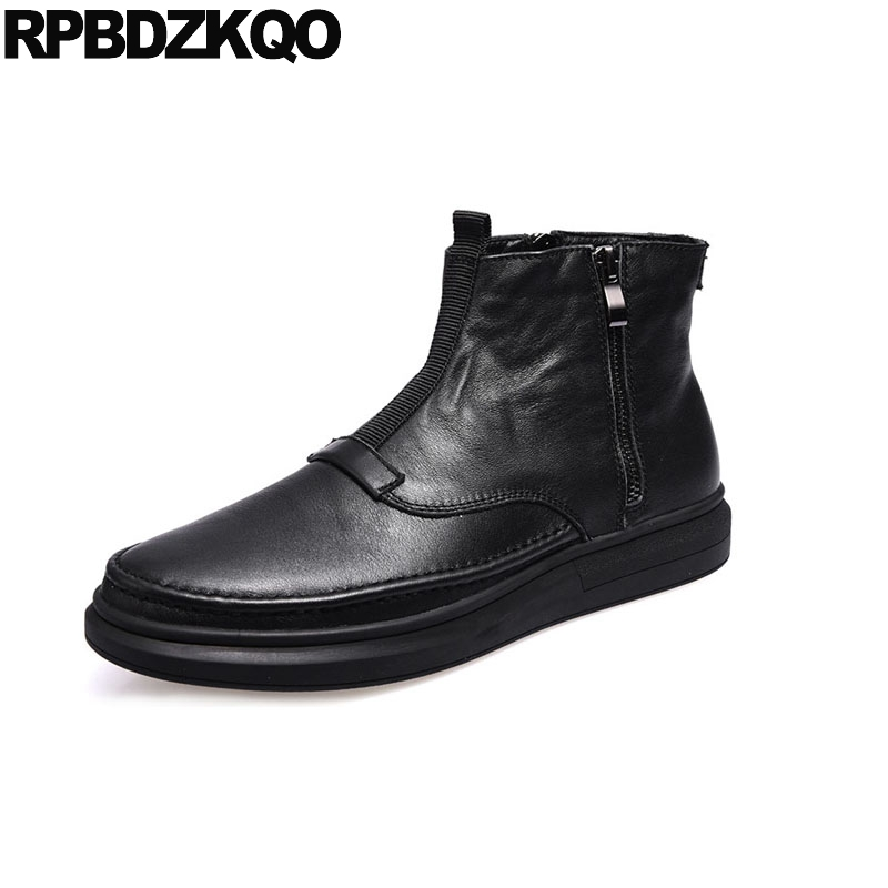 real leather designer shoes black trainer zipper winter men boots with fur full grain fashion sneakers genuine high top flat black super warm winter boots russian style full grain men fashion trainer sneakers high top genuine leather booties fur shoes