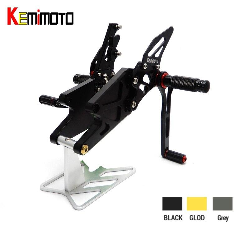 KEMiMOTO MT-03 R3 CNC Réglable Arrière Ensemble Commandes Reculées Repose-pieds Pour Yamaha YZF R25 R3 2014-2016 et MT-25 2015 -2016 Nouveauté