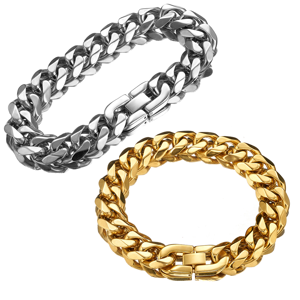 15mm Wide Biker Men's Silver Gold Color Curb Cuban Link Chain Bracelet 7-11 Inches Stainless Steel Bangle Jewelry Wholesale