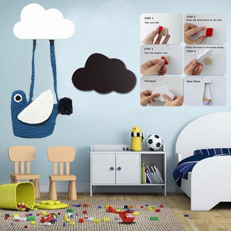 Wooden cloud hook for kids room for Kids room hooks