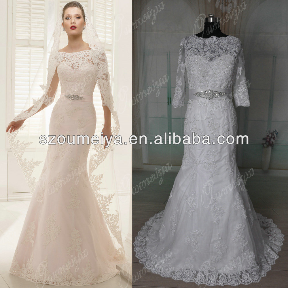 Oumeiya Orw365 Vintage Lace 3 4 Sleeve Mermaid Real Sample Wedding Dress 2017 In Dresses From Weddings Events On Aliexpress Alibaba Group
