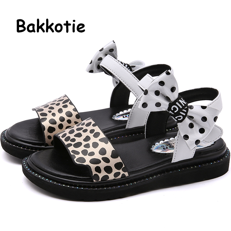 Bakkotie 2019 Summer New Girls Pink Fashion Leopard Sandals Princess Bowtie Party Shoes Kids Causal Soft Breathable FlatsBakkotie 2019 Summer New Girls Pink Fashion Leopard Sandals Princess Bowtie Party Shoes Kids Causal Soft Breathable Flats