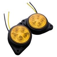 10Pcs Round Side Marker LED Light Indicator Lamp For Van Car Truck Trailer 12V Yellow