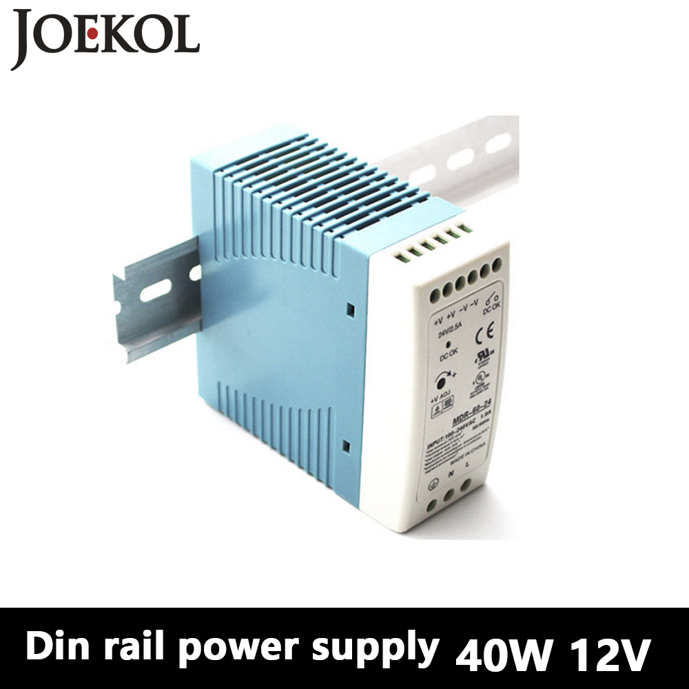 MDR-40 Din Rail Power Supply 40W 12V 3.33A,Switching Power Supply AC 110v/220v Transformer To DC 12v,ac dc converter зонт женский zest автомат 3 сложения цвет черный 23745 0108