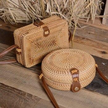 Hecho a mano tejido de mimbre redonda mujeres bolso Retro Vintage paja caja cuadrada bolsa de mensajero para mujer verano playa bolso de hombro