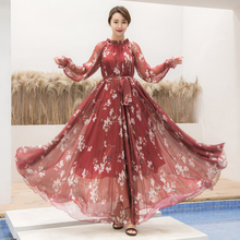 цена на bohemian Style long Maxi dress Plus size Chiffon Flowy Runway Maxi Dress Long Sleeve O-Neck Elegant Flower Print Beach Sundress