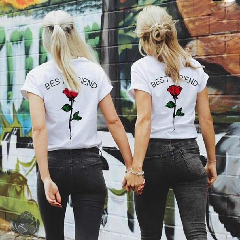 3ee9772a7 KANCOOLD tops high quality Best Friend Letters Rose Printed T Shirts Causal  Tops t-Shirt