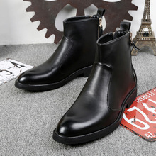 2018 Chelsea Boots Genuine Leather Autumn Winter Fashion Trend Men Boots  Short Top Black Shoes Ankle Boots Bota Masculina 37-44 z suo winter yellow boots men genuine leather luxury brand cow leather ankle boots mens work boots brown bota masculina 16011xz