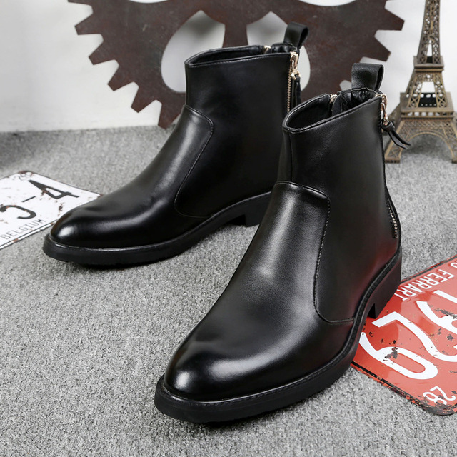 0d1194545ffd50 2018 Chelsea Boots Genuine Leather Autumn Winter Fashion Trend Men Boots  Short Top Black Shoes Ankle Boots Bota Masculina 37-44