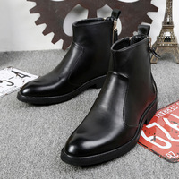 2018 Chelsea Boots Genuine Leather Autumn Winter Fashion Trend Men Boots Short Top Black Shoes Ankle Boots Bota Masculina 37 44