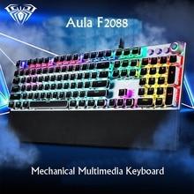 Игровая механическая клавиатура AULA F2088 с 108 клавишами, с проводной подсветкой, металлическая, с защитой от привидения, для компьютера, ПК