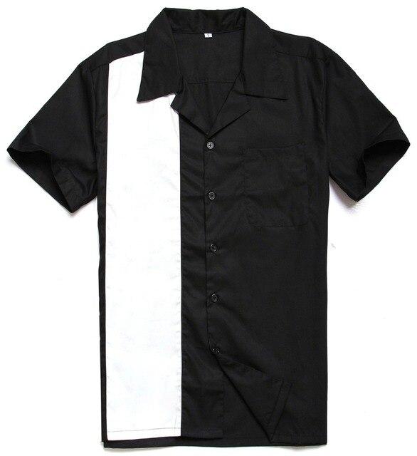 CandowLook de alta calidad Botón de los hombres cuello negro blanco Panel  50 s 60 s Retro Vintage 35fb9e8516241