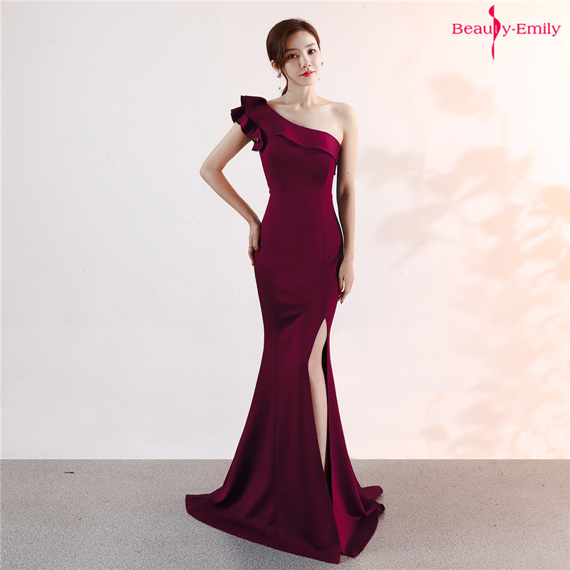 Beauty Emily One Shoulder Ruffle Evening Dresses Sleeveless Multi Color Mermaid Party Dress High Split Prom Gowns Robe De Soiree