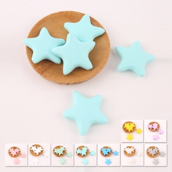 Bite Bites Silicone Beads 5PCS Star Shaped Baby DIY Chewing Pacifier Chain Teething Toy BPA Free For Teether