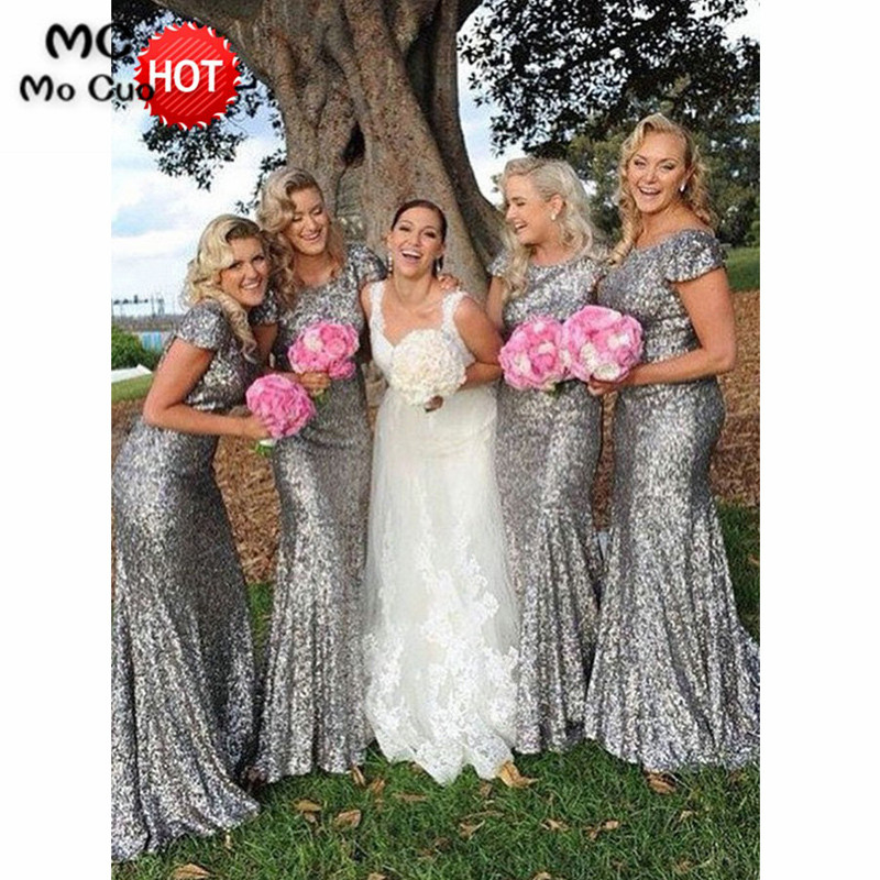 2018 Silvery Mermaid Bridesmaid Dress With Sequins Short Sleeve Backless Wedding Party Dress Women Bridesmaid Dresses