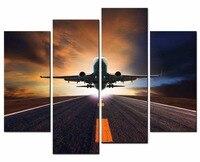 قماش المشهد مطار 4 قطعة الصور الزخرفية جدار الفن الحديث نمط رخيصة مع مؤطرة يطبع هدية XJ1-300-259