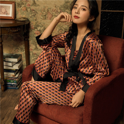 Daeyard Silk   Pajamas     Sets   For Women Cami Top+Pants+Robe 3PCS Print Robe   Set   Fashion Pyjamas Sleepwear Spring Summer Home Clothes