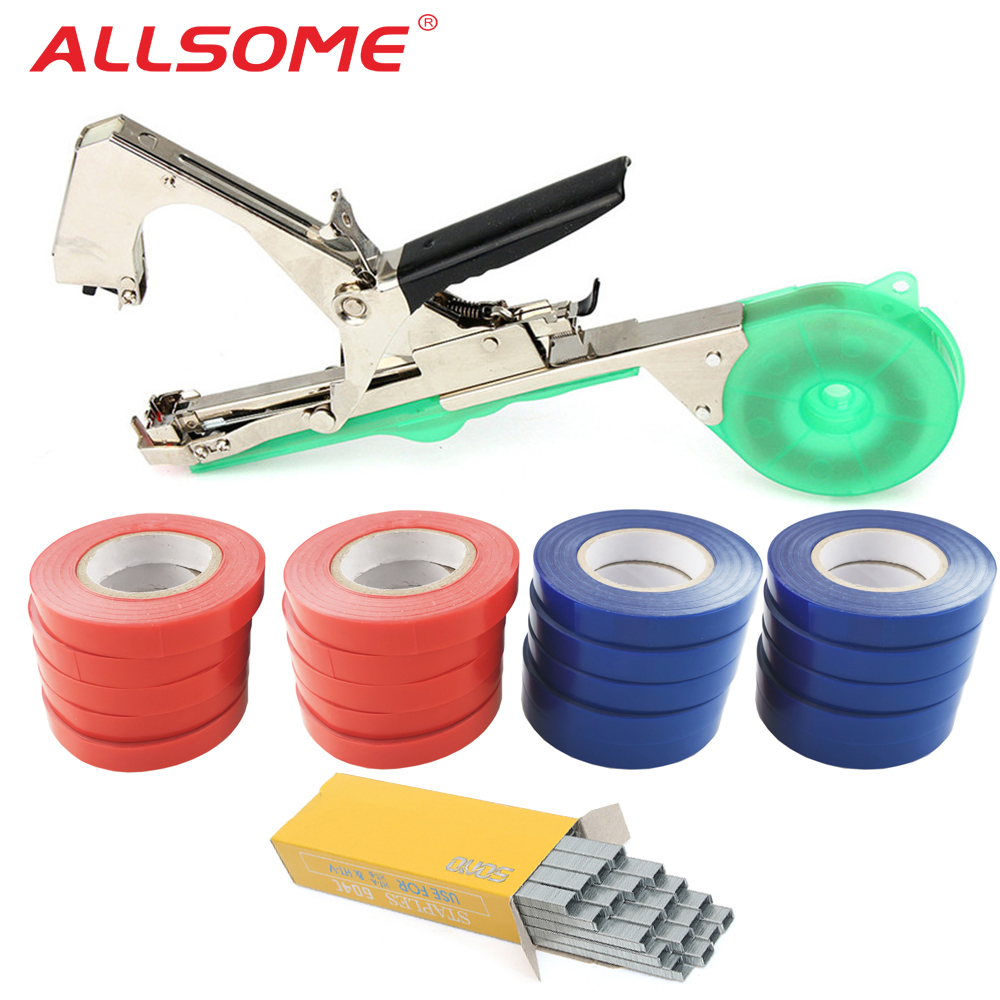 Tying Machine Plant Garden Plant Tapetool Tapener With 20 Rolls Tape Set For Vegetable, Grape, Tomato,Cucumber, Pepper Flower