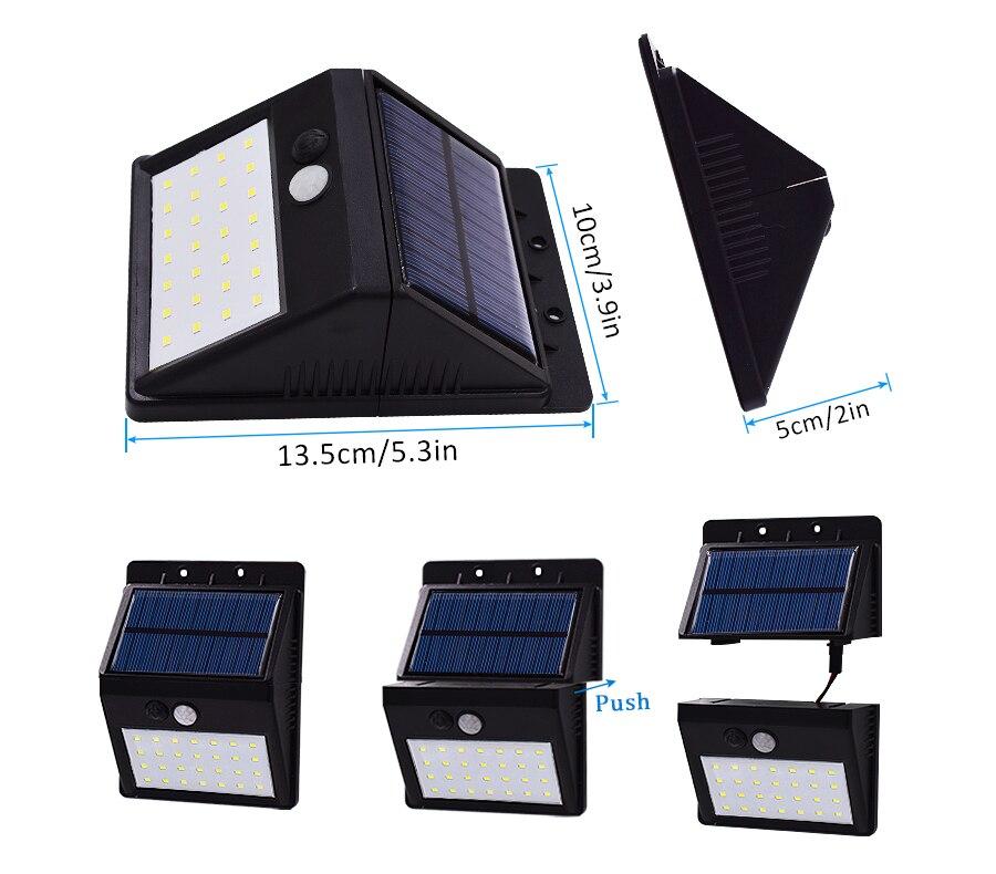 Luz LED exterior con panel solar, medidas