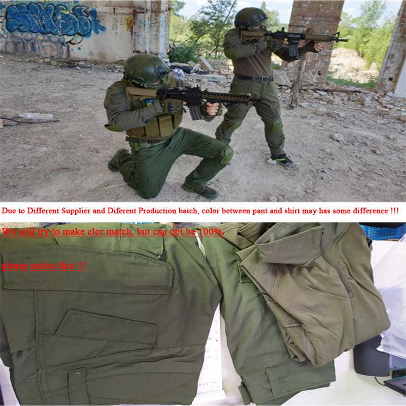 Tacvasen Taktis Seragam Pria Rip-Stop Kamuflase Militer Pakaian Set Airsoft Paintball Tempur Keamanan Cocok untuk Berburu Pakaian