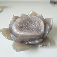 A stone Carved lotus Natural agate geode c Crystal cluster