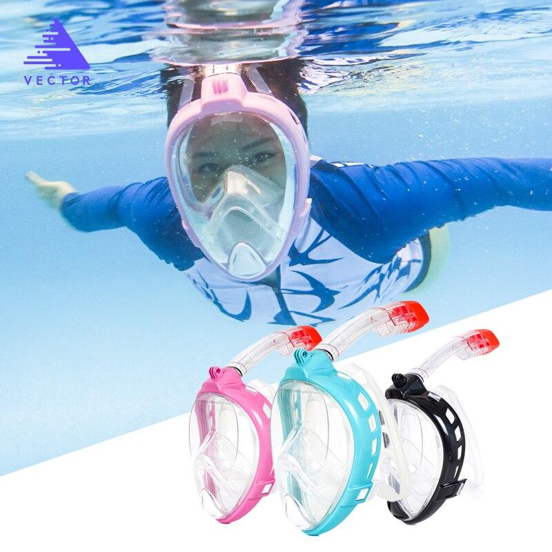 Masque de plongée sous-marine vectoriel hommes femmes visage complet Vision large Anti-buée plongée sous-marine masques de natation Fit caméra GoPro