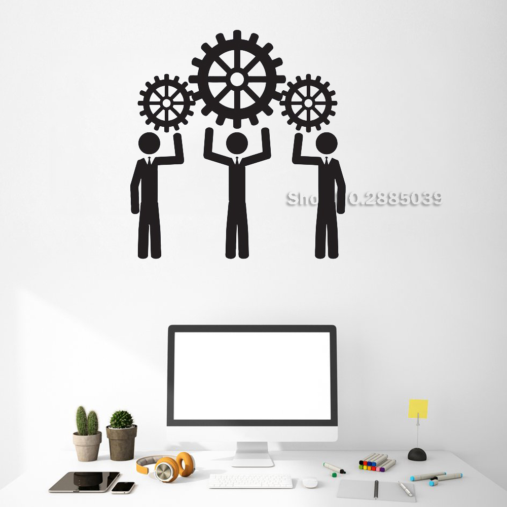 New Vinyl Gears Wall Decals People Work Thought Wheel Office Teamwork Business Room Art Stickers Mural Interior Decor LC512
