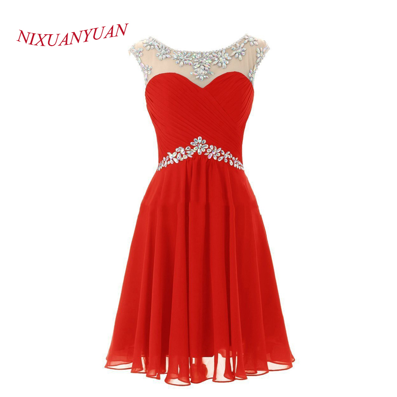 2015 Mini   Cocktail     Dress   A Line Homecoming Gowns Party Gowns Chiffon Scoop Crystal Back Open Custom Made vestidos de c-01