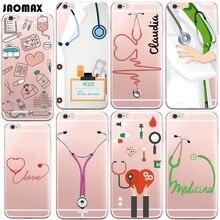 Bonito dos desenhos animados caso médico de medicina para iphone 6 6 s 6 plus 6 s mais 5 5S SE 7 7 Mais Transparente Claro Silicone Suave Telefone cobrir