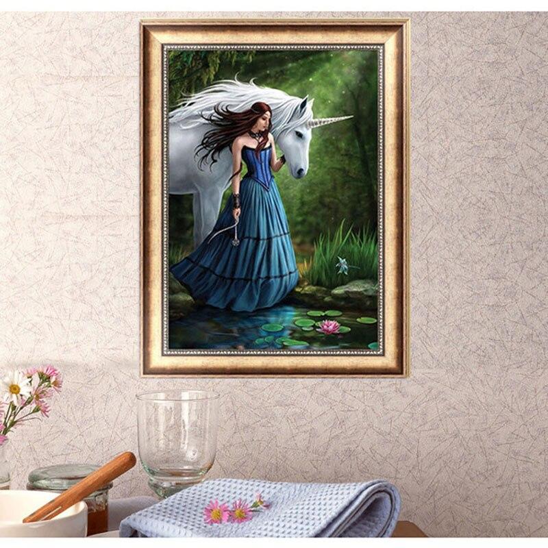 Beauty & Horse 5D Diamond Embroidery DIY Craft Cross Stitch Mosaic Home Decor 40*30cm -Y102
