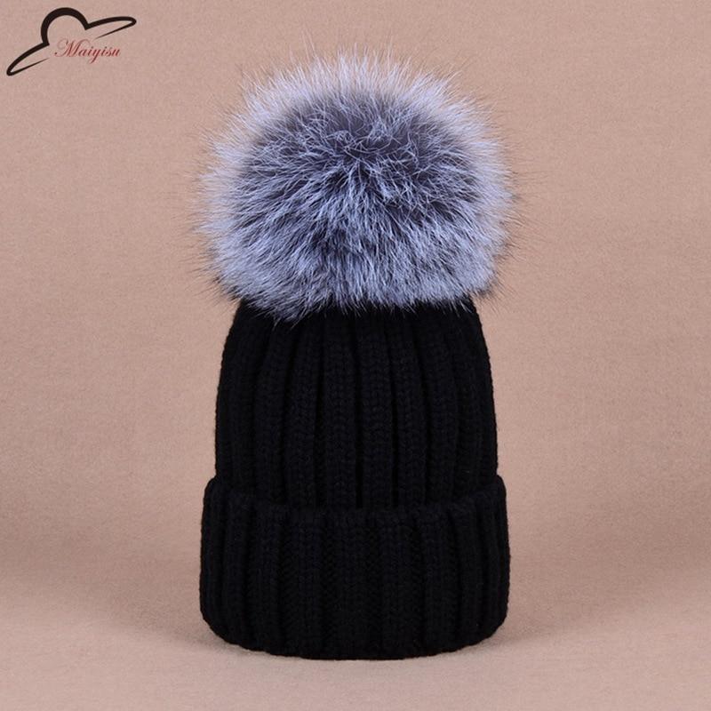 d3f6e3b47139a4 New Winter Hats Real Fox Fur Pom Pom Women Knit Beanie Bobble Hat Cashmere  for men women kids winter Cap For Children-in Skullies & Beanies from  Women's ...