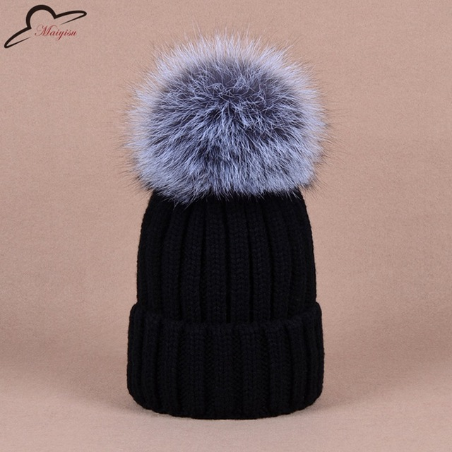 c37933e3f4e9c3 New Winter Hats Real Fox Fur Pom Pom Women Knit Beanie Bobble Hat Cashmere  for men