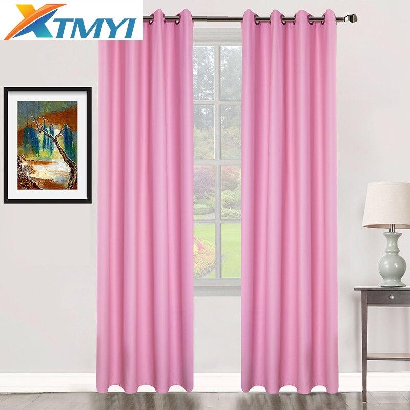 Rideaux occultants de fenêtre solide pour les filles de chambre rose ...