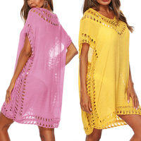 Women Bikini Swimsuit Cover Summer Boho V neck Kaftan Tunic Hollow Loose Beach Dress WHShopping