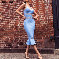 Wholesale Party Special OccasionSpaghetti V Neck Strap Frill Hem Blue Dress Women Hollow Out Aliexpress Cheap Bandage Dresses